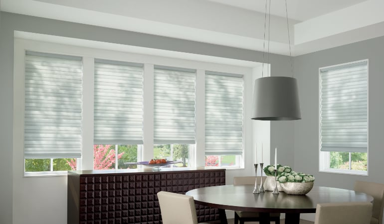 Cellular shades in a Charlotte dining room.