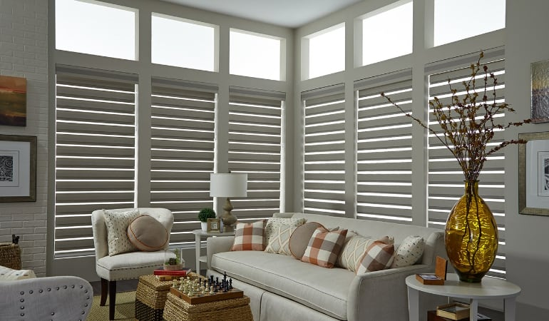 Motorized shades in a Charlotte living room.