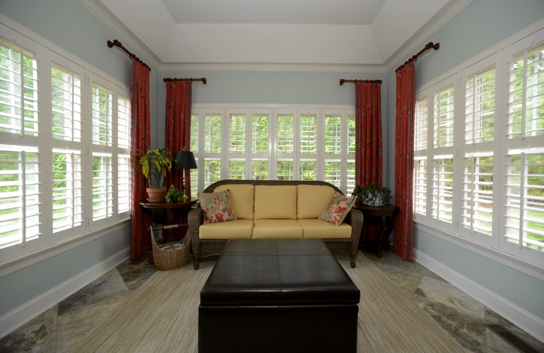 Plantation Shutters In A Charlotte Sunroom